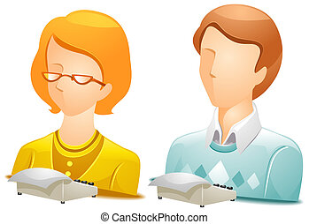 Stenographer Avatars with Clipping Path