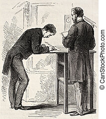 Old illustration of stenographers in French parliament, Paris. Created by Pauquet, published on L'Illustration, Journal Universel, Paris, 1868