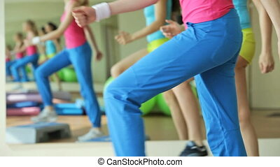 Step aerobics - Girls moving energetically doing step...