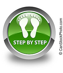 Step by step (footprint icon) glossy soft green round button