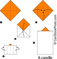 step by step instructions how to make an origami A candle