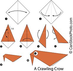 origami A Crawling Crow.
