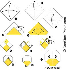 origami duck on a white background