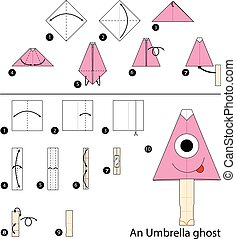 origami An Umbrella Ghost.