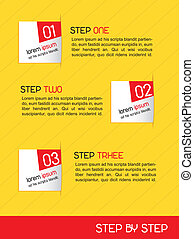 step by step - paper desing numbered over yellow background...