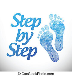 step by step sign illustration design over a white ...