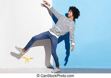 step!, contra, colorido, su, se resbalar, joven, plano de ...