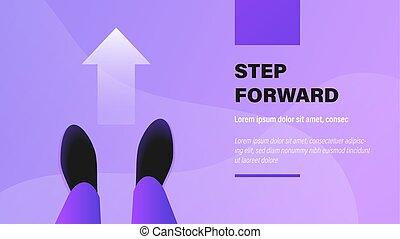 Step Forward. Business Presentation Background with Illustration.