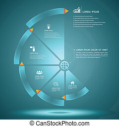 step glass style - Vector business concepts with icons / can...