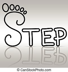Step - Illustration of foot symbol in the text.