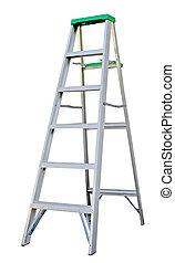 Step Ladder - Aluminum step ladder isolated on white...