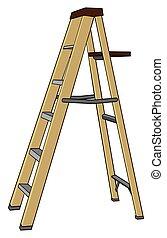 Step Ladder - A six foot adjustable step ladder is set up...