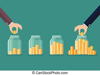 Step of Hand saving coins in glass jar