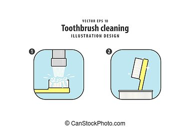 Step of toothbrush cleaning illustration vector on white background. Dental concept.