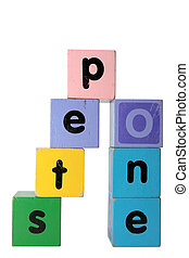 step one in toy play block letters with clipping path