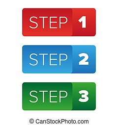 Step One Two Three button vector