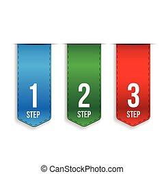 Step One, Two, Three progress vector