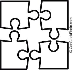 Step puzzle icon, outline style