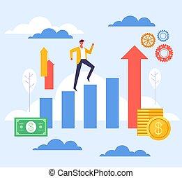 Step up success business concept. Vector flat graphic design illustration