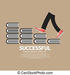Step Up Walking On Books Successful Concept Vector Illustration.
