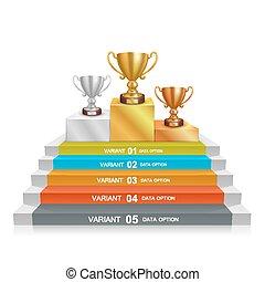 Step winner cup art info. Vector illustration