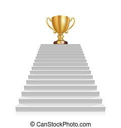 Step winner cup art sign. Vector illustration