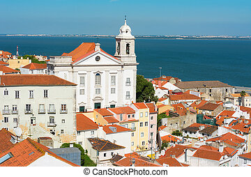 stephen, rue, lisbonne, portugal, église