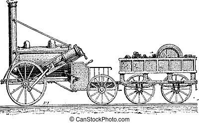 Stephenson's Rocket, vintage engraving