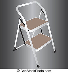 Household ladder on two steps of. Vector illustration.