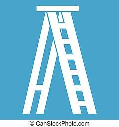 Stepladder icon white isolated on blue background vector illustration