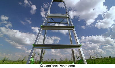 Stepladder in green field against blue sky with clouds