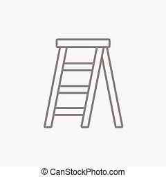 Stepladder line icon for web, mobile and infographics. Vector dark grey icon isolated on light grey background.