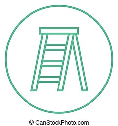 Stepladder thick line icon with pointed corners and edges for web, mobile and infographics. Vector isolated icon.