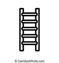 stepladder, ordinario, icono, jardín, contorno, vector, ilustración
