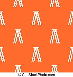 Stepladder pattern repeat seamless in orange color for any design. Vector geometric illustration