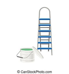 Stepladder with Bucket of Paint Rested Nearby Vector Illustration. Construction Material and Supplies for Civil Engineering Constructive Works Concept