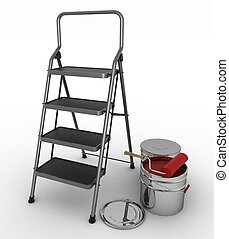 stepladder with jars from under a red paint on a white background