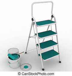 stepladder with jars from under pai