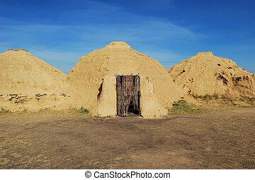 steppe., construction, ancien, arkaim, reconstruction