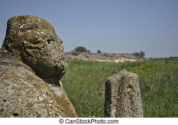 Steppe Scythian stone figure, Ukraine, Zaporizhia region, the complex Stone Grave