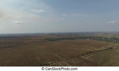 Steppe with a bird's-eye view - Fire in steppe bird's-eye...