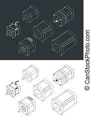 Stylized vector illustration of isometric drawings of a set of stepper motors