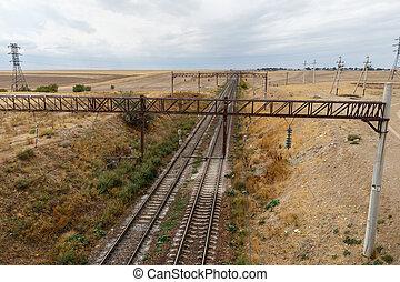 steppes, kazachstan, spoorweg