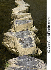Stepping stones across river