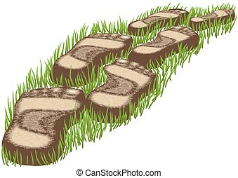 stepping stones on a green grass- 10 EPS