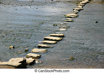 Stepping stones crossing a stream in Wales, UK