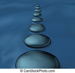 Stepping stones with smooth rocks in water as a symbol of ...
