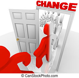 Stepping Through the Change Doorway - A line of people step...