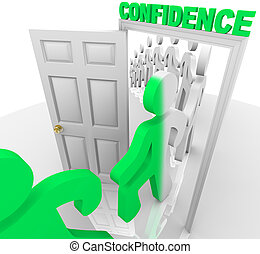Stepping Through the Confidence Doorway - A line of people...