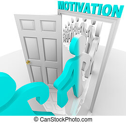 A line of people step through the motivation doorway and become transformed